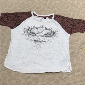 Harley-Davidson Bling Wings Lace Sleeve Top